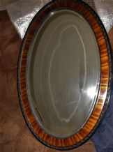 EDWARDIAN BEVEL EDGE OVAL MIRROR BEADED CARVED WOOD FRAME & RICH INLAY SURROUND